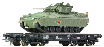 Train électrique : ROCO R67472 - Wagon plat+M3 Bradley DB
