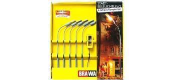 Brawa 5904 Set 5 lampadaires et une cabine téléphonique éclairée