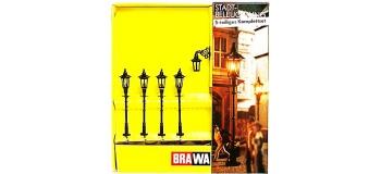 Brawa 5906 Set 4 lanternes à gaz et 1 lanterne à gaz