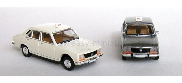 BREKINA SAI 2095 - Lot de 2 Peugeot 504 taxi, blanc + gris métallisé