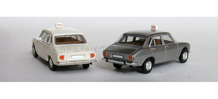 BREKINA 2095 - Lot de 2 Peugeot 504 taxi, blanc + gris métallisé