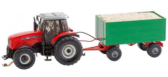 FALLER F161305 - MF tracteur avec remorque à copeaux de bois (Wiking)