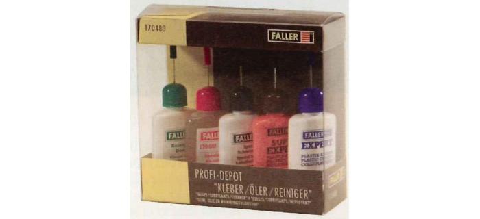 FALLER 170480 Assortiment professionnel, colles / lubrifiants / nettoyants