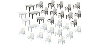Modélisme ferroviaire : FALLER F180439 - Chaises + Tables De Jardin