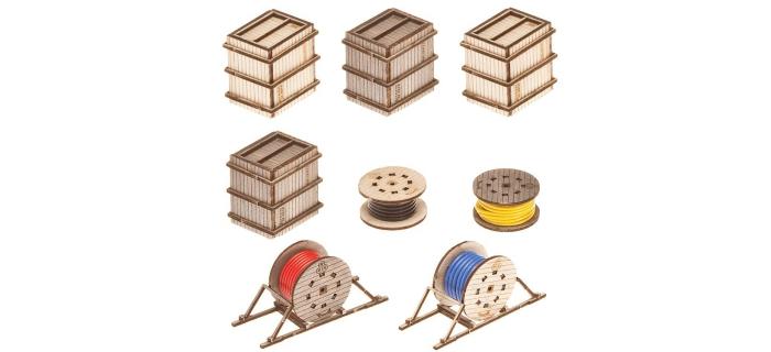 faller 180617 enrouleur cable et caisse pour modelisme ferroviaire