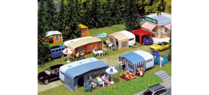 Modélisme ferroviaire :  Kit 4 caravanes camping 88x51x28 56x48x27