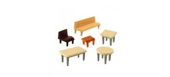Modélisme ferroviaire : FALLER F272440 - Tables, chaises + bancs N