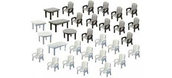 Modélisme ferroviaire : FALLER F272441 - Chaises + tables jardin N