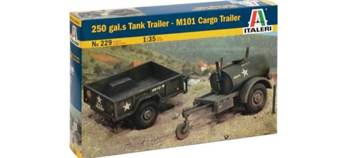 Maquettes : ITALERI I229 - Remorques M101 et 250 gallons