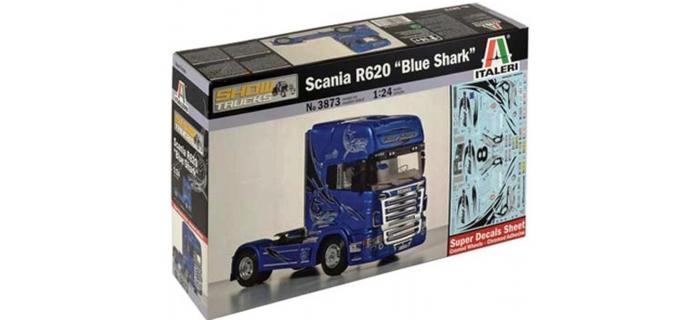 Maquettes : ITALERI I3873 - Tracteur de camion Scania R620 Blue Shark