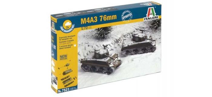 Maquettes : ITALERI I7521 - Char d'assaut M4A3 Sherman 76mm