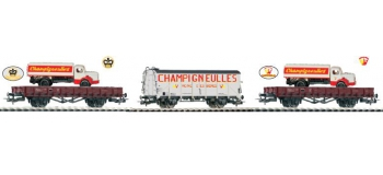 PIKO 58401 - Coffret Champigneulles, 3 wagons + 2 berliets
