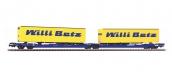 Modélisme ferroviaire : PIKO PI 97087 - Wagon Poche T3000E Nacco avec 2 remorques