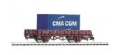 Modélisme ferroviaire : PIKO PI 97082 -Wagon plat avec container CMA CGM SNCF