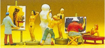PREISER 10106 Artistes, sculpteurs, peintres avec accessoires