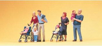 preiser 10494 Parents avec enfants et poussettes diorama modelisme ferroviaire