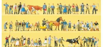 preiser 13001 Set de ferme avec personnages, animaux et accessoires