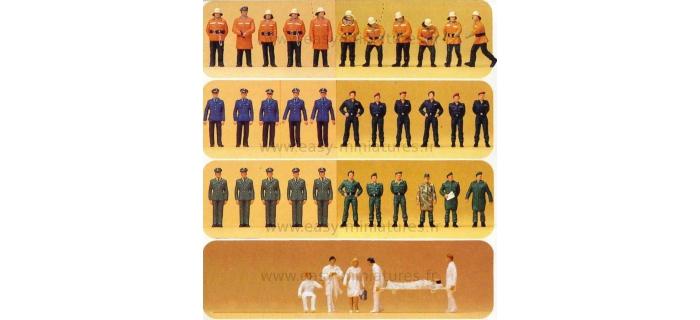 FIGURINES PREISER 16339 - Pompiers, Policiers, Sauveteurs