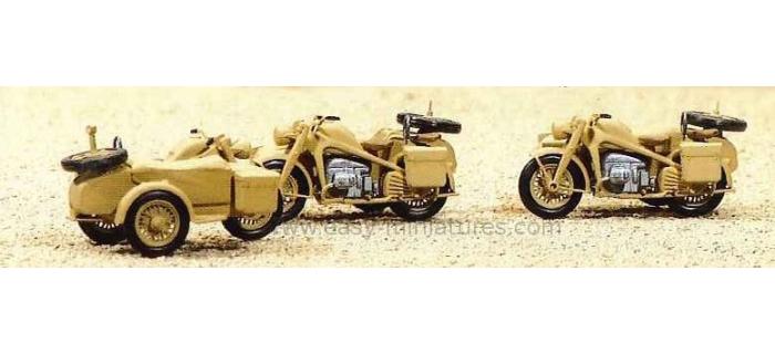 PREISER 16563 - 3 motos side-car militaires, Reich Allemand1939-45