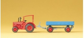 Modélisme ferroviaire : PREISER - PR79502 - Tracteur hanomac remorque