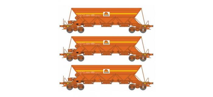 Modélisme ferroviaire : REE  NW 117 - Coffret de 3 wagons Trémie EX T1 Ep.V-VI « COLAS »