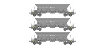 Modélisme ferroviaire : REE  NW 118 - Coffret de 3 wagons Trémie EX T1 Ep.V-VI « ECR » Euro Gargo Rail