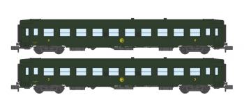 Modélisme ferroviaire : NW-134 - Coffret de 2 voitures UIC B10 Vertes Logo Rond Ep.III