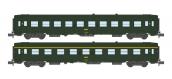 Modélisme ferroviaire : NW-140 - Coffret de 2 voitures UIC B10 et A9 Vert Logo jaune encadré Ep.IV