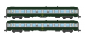 Modélisme ferroviaire : REE - NW-141 - Coffret de 2 voitures UIC B10 Vert/ALU Livrée 160 Logo jaune encadré Ep.IV