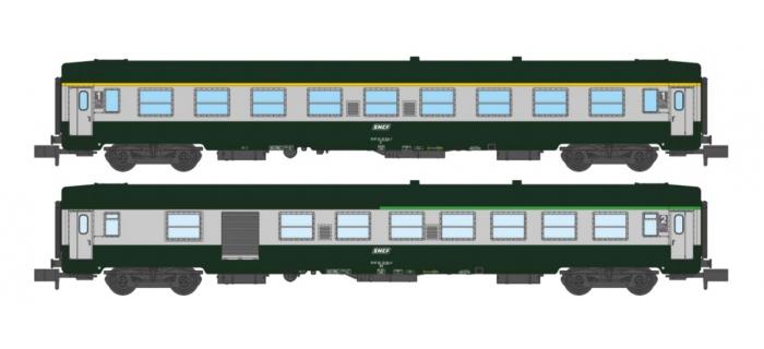 Modélisme ferroviaire : REE - NW-148 - Coffret de 2 voitures UIC A9 et B5D Vert/Gris Logo blanc cartouche Corail Ep.V
