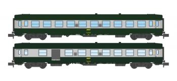 Modélisme ferroviaire : REE - NW-150 - Coffret de 2 voitures UIC B10 et B5D Vert/ALU Livrée 160 Logo jaune encadré Ep.IV