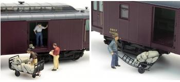 Modélisme ferroviaire : REE PB-003 - Postiers pour Ambulants et Allèges + Sacs des Postes