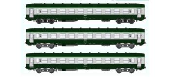 Train électrique REE VB-039 - Coffret 3 voitures DEV AO Courtes Ep.IV-V Vert - Gris béton Cartouche Corail électrique :