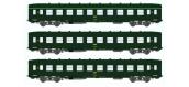 Train électrique REE VB-041 - Coffret 3 voitures DEV AO Courtes Ep.IV Vert Logo jaune encadré