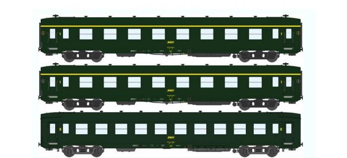 Train électrique :  REE VB-057 - Coffret 3 voitures DEV AO Courtes Ep.IV Vert Logo jaune encadré