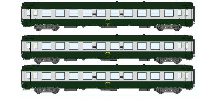 REE VB-068 - Coffret de 3 voitures UIC Ep.IV Vert-Aluminium livrée 160