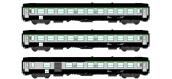 Modélisme ferroviaire : REE VB-072 - Coffret de 3 voitures UIC Ep.V TER, cartouche corail