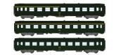 Modélisme ferroviaire : REE VB-098 - Coffret de 3 voitures UIC Ep.IV logo encadré jaune.