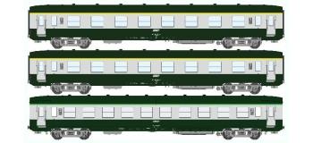 Train électrique : REE VB-135 - Coffret 3 voitures DEV AO Courtes Ep.IV-V Vert - Gris béton Cartouche Corail