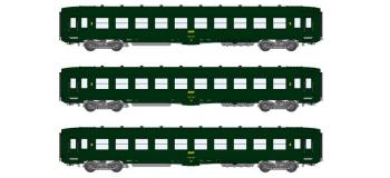 Modélisme ferroviaire : REE VB-142 - Coffret de 3 voitures DEV AO Courtes Ep.IV Logo encadré jaune