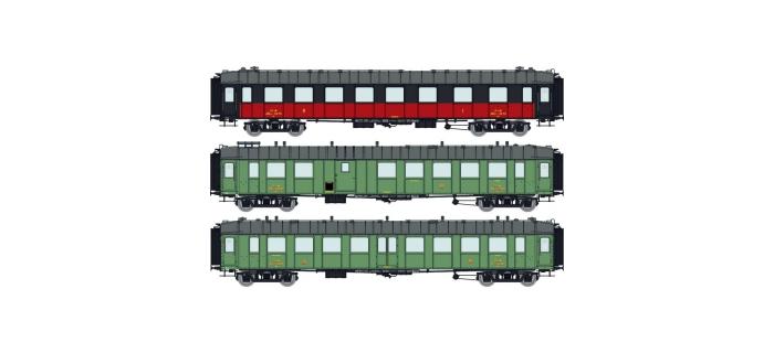 Modélisme ferroviaire : REE VB-264 - Coffret de 3 Voitures OCEM RA PLM Ep.II