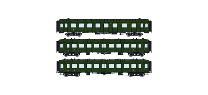 Modélisme ferroviaire :  REE VB-267 - Coffret de 3 Voitures OCEM RA ETAT Ep.II