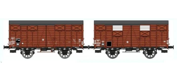 Train électrique : REE WB-291 - Set de 2 wagons Couvert OCEM 19 Ep.III B