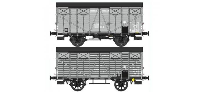 Train électrique :  REE WB-329 - Set de 2 Wagons Couvert OCEM 19 Epoque II Réseau PLM