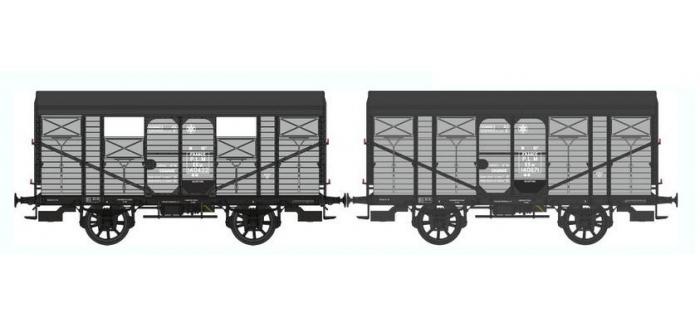 Train électrique :  REE WB-331 - Set de 2 Wagons COUVERT 20T PLM Ep.II - PLM