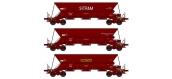 Modélisme ferroviaire : REE WB-385 - Set de 3 Wagons trémie EX  Ep.IV-V «SITRAM / Cie Auxiliaire du MIDI / SIMOTRA» avec chargement de sable