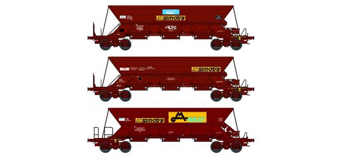 REE WB-385 - Set de 3 Wagons trémie EX  Ep.IV-V «SITRAM / Cie Auxiliaire du MIDI / SIMOTRA» avec chargement de sable