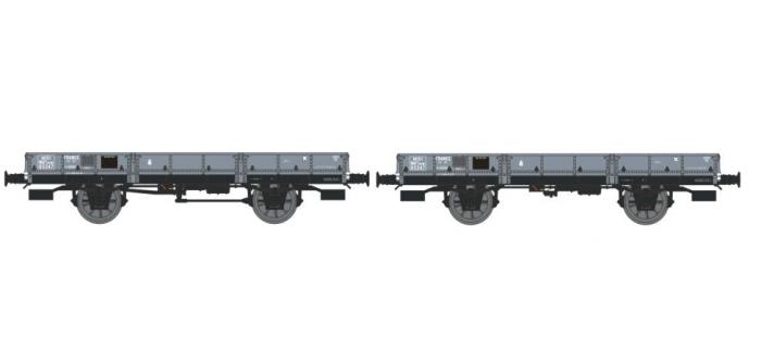 REE WB 123 - Set de 2 wagons plats OCEM 29, MIDI