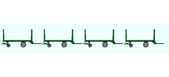 Train électrique : REE XB-011 - Set de 4 Chariots Poste en bois,Ep III Vert Foncé