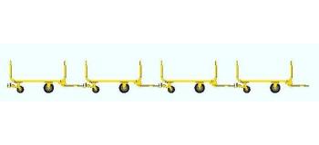 Train électrique : REE XB-012 - Set de 4 Chariots tube métal,Ep IV jaune